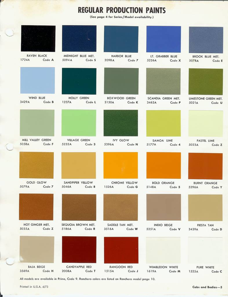 Ford Truck Paint Color Chart